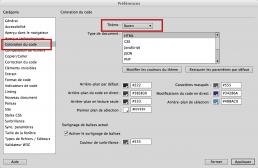 Fenêtre de Dreamweaver pour changer la couleur du code