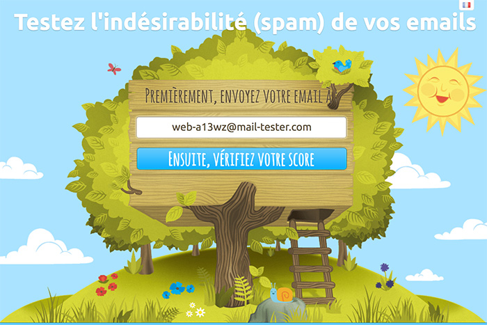 L'interface du site mail-tester