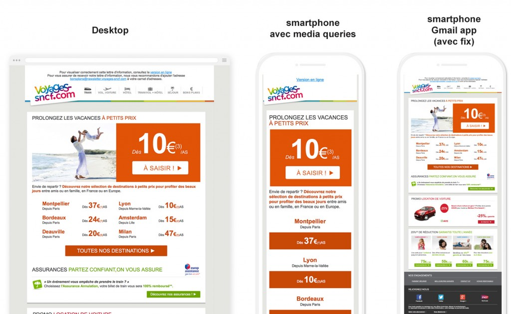 Emailing Voyages sncf gmail app